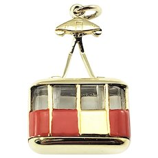 Vintage 14 Karat Yellow Gold and Enamel Sky Tram Cable Car Charm
