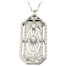 Vintage 14 Karat White Gold and Diamond Filigree Pendant Necklace