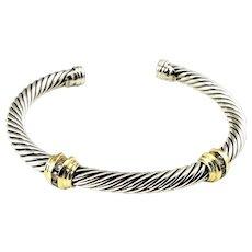 Vintage David Yurman Sterling Silver/18 Karat Yellow Gold and Diamond Cable Cuff Bracelet