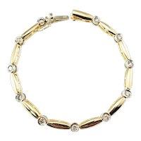 Vintage 14 Karat Yellow Gold and Diamond Bracelet