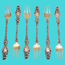 Set of 6 Whiting Lily Sterling Silver Cocktail Forks with Monogram