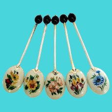 Set of 5 Turner & Simpson Sterling Silver Flower Enamel Espresso Bean Demitasse Spoons