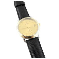 Omega DeVille Prestige Men's 18K Yellow Gold and Steel Automatic Watch Gold Dial
