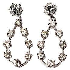 Vintage 14 Karat White Gold Diamond Dangle Earrings