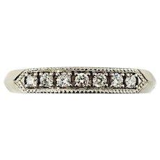 Vintage 14 Karat White Gold and Diamond Wedding Band Ring Size 8