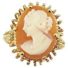 Vintage 18 Karat Yellow Gold Cameo Ring Size 6.5