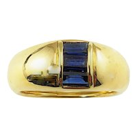 Vintage 18 Karat Yellow Gold and Sapphire Ring Size 5.75