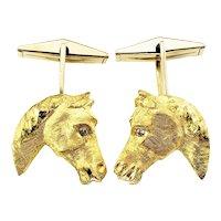 Vintage 14 Karat Yellow Gold and Diamond Horse Cufflinks