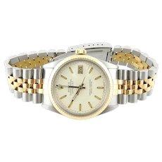 1987 Rolex Men's Watch Two Tone Jubilee Bracelet 16013 Linen Logo Dial