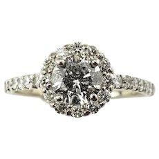Vintage 14 Karat White Gold Diamond Engagement Ring Size 5.5 GAI Certified