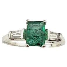Vintage 14 Karat White Gold Emerald and Diamond Ring Size 6.25 GAI Certified
