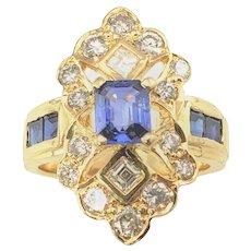 Vintage 18 Karat Yellow Gold Sapphire and Diamond Ring Size 4.5 GAI Certified