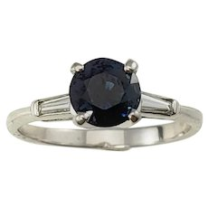 Vintage 14 Karat White Gold Sapphire and Diamond Ring Size 6.25 GAI Certified