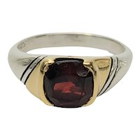 Vintage Gucci Sterling Silver 18K Yellow Gold Accent Red Stone Ring Size 5 1/2