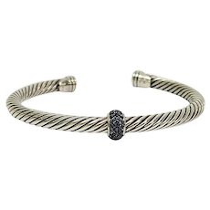 David Yurman Sterling Silver Cable Classics Center Station Sapphire Cuff Bracelet