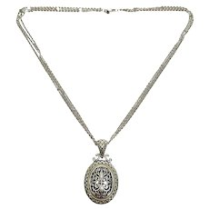 Arts Elegance AE 14K 925 Sterling Silver Oval Pendant Multi Strand Chain Necklace
