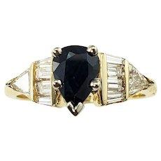 Vintage 14 Karat Yellow Gold Sapphire and Diamond Ring Size 5.75 GAI Certified