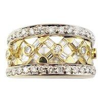 Vintage 18 Karat White and Yellow Gold Diamond Band Ring Size 6.25 GAI Certified