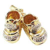 Vintage 14 Karat Yellow Gold and Diamond Baby Shoes Charm