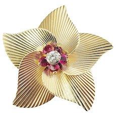 Vintage Tiffany & Co. 14 Karat Yellow Gold Ruby and Diamond Brooch/Pin