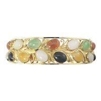 Vintage 14 Karat Yellow Gold Gemstone Bangle Bracelet
