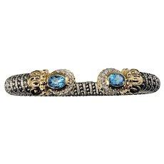 Vintage 14 Karat Vahan Sterling Silver/14 Karat Yellow Gold Blue Topaz and Diamond Bracelet