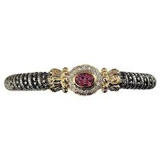 Vintage Vahan Sterling Silver/14 Karat Yellow Gold Pink Topaz and Diamond Bracelet