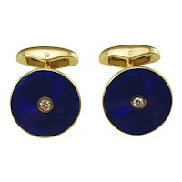 Vintage Faberge 18 Karat Yellow Gold, Guilloche Enamel and Diamond Cufflinks