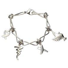 Tiffany & Co Paloma PIcasso Sterling Silver Charm Bracelet with Heart, X, Zig Zag, Dove