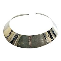 Ed Levin Hammered Sterling Silver Collar Cuff Necklace