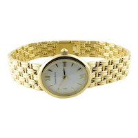Tiffany & Co. 18K Yellow Gold Ladies Watch White Dial Basket Weave Band