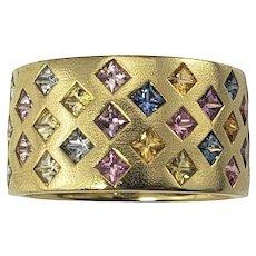 Vintage 18 Karat Yellow Gold and Sapphire Ring Size 6.5 GAI Certified