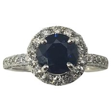 Vintage 14 Karat White Gold Sapphire and Diamond Ring Size 6.75 GAI Certified