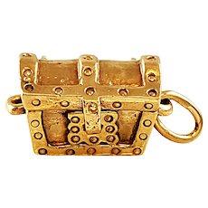 Vintage 14k Yellow Gold Treasure Chest Charm