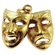 Vintage 14K Yellow Gold Tragedy & Comedy Mask Charm