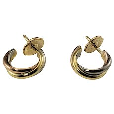 Vintage Cartier 18 Karat Yellow, White and Rose Gold Trinity Hoop Earrings