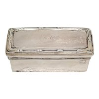 900 Silver Rectangle Trinket Box with Engraving