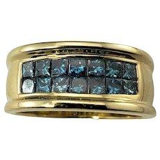 Vintage 14 Karat Yellow Gold and Blue Diamond Ring Size 8.5