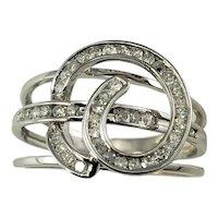 Vintage 18 Karat White Gold and Diamond Ring Size 6.5