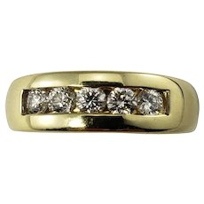 Vintage 14 Karat Yellow Gold and Diamond Band Ring Size 8.75