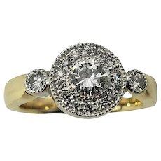 Vintage 14 Karat Yellow Gold and Diamond Ring Size 5.75