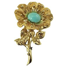 Vintage Tiffany & Co 18 Karat Yellow Gold and Turquoise Brooch/Pin
