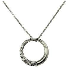 Vintage 14 Karat White Gold and Diamond Circle Pendant Necklace