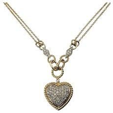 Vintage 14 Karat Yellow Gold and Diamond Heart Pendant Necklace