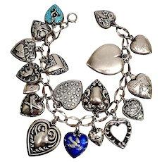 Vintage Sterling Silver Loaded Puffy Heart Charm Bracelet