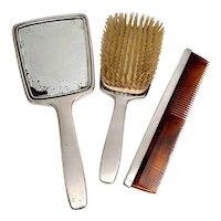 Vintage Tiffany & Co Sterling Silver 3pc Vanity Dresser Set Mirror, Brush, Comb