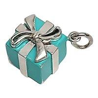 Tiffany & Co Sterling Silver Blue Enamel Gift Box Present Charm Pendant