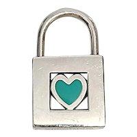 Tiffany & Co Sterling Silver Blue Enamel Heart Padlock Charm Pendant