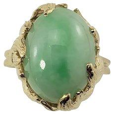 Vintage 14 Karat Yellow Gold Jade Ring Size 9