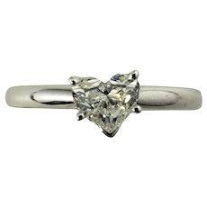 Vintage 14 Karat White Gold Heart Shaped Diamond Engagement Ring Size 6.5